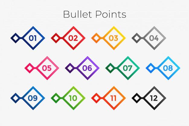 Геометрические маркеры с номерами от одного до двенадцати