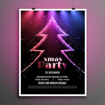 Красивая рождественская вечеринка темный флаер огни шаблон