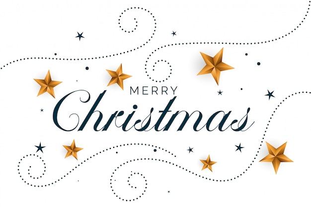 ゴールデンハートとメリークリスマスホワイトバックグラウンド