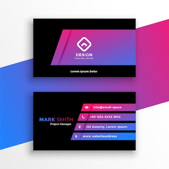 Стильный яркий фиолетовый дизайн шаблона визитной карточки