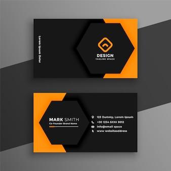 Элегантный минимальный черно-желтый шаблон визитной карточки