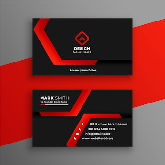 赤と黒の幾何学的な名刺テンプレートデザイン
