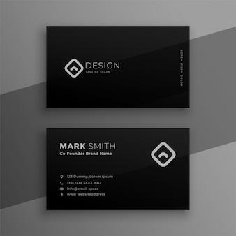 Темно-черный элегантный дизайн визитной карточки
