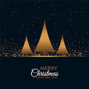 С новым годом и рождеством открытка с тремя деревьями