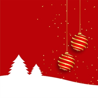 エレガントな赤いメリークリスマスグリーティングカード背景に現実的なボール