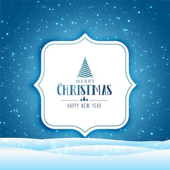 С рождеством и новым годом открытка с зимней сценой с падающим снегом