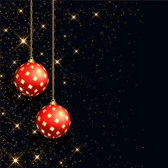現実的な赤いボールと美しい黒いクリスマス背景