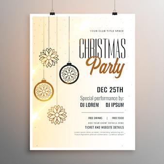 Веселая рождественская вечеринка белый флаер шаблон дизайна