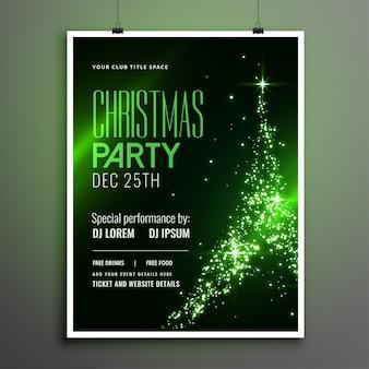 輝くツリーデザインの素晴らしいクリスマスパーティーグリーンチラシ