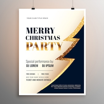 Веселая рождественская вечеринка флаер шаблон дизайн плаката