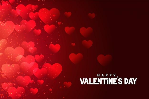 赤いバレンタインデーハートグリーティングカードの抽象的なデザイン