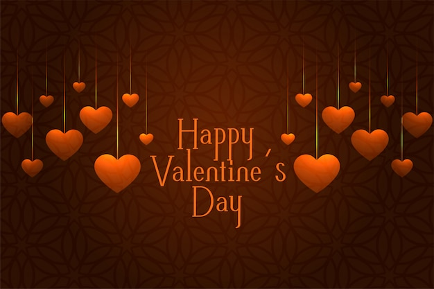 心をぶら下げとバレンタインの日のお祝いグリーティングカード