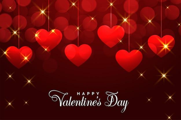 День святого валентина красная карточка с падающими блестками
