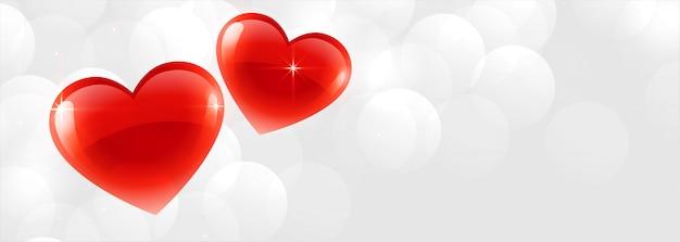 Красивые два блестящих сердца баннер фон