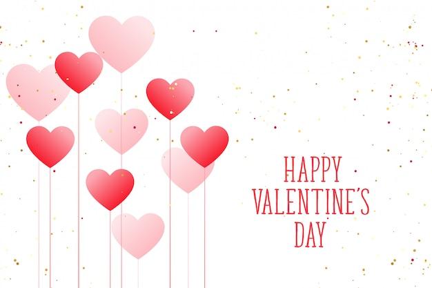 美しいバルーンハートハッピーバレンタインデーグリーティングカード