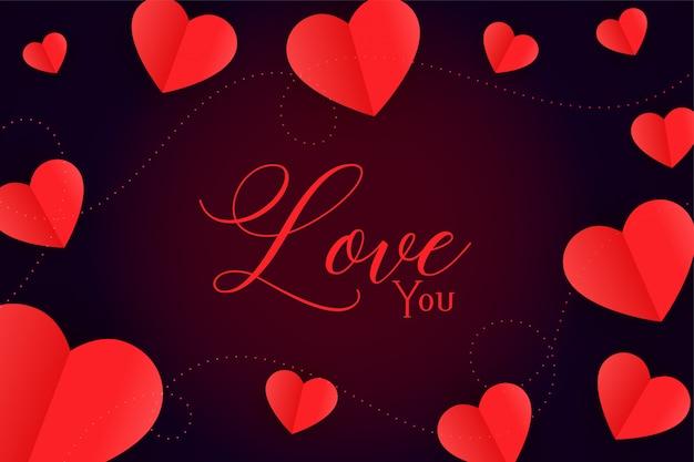 愛のメッセージと赤いハート