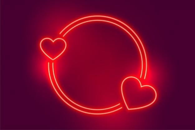 Неоновый красный два сердца кадр с пространством для текста