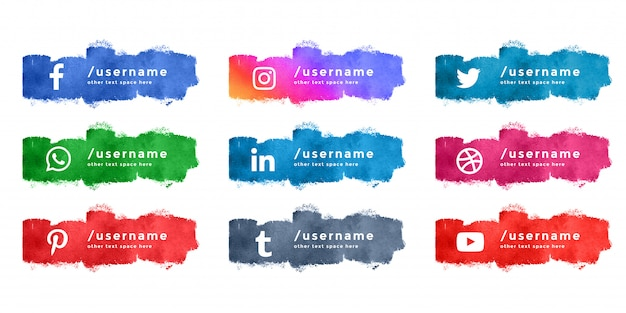 Абстрактная акварель социальных медиа нижняя третья коллекция