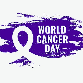 Абстрактный всемирный день борьбы против рака гранж-постер