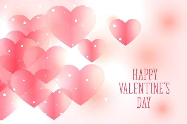 美しい柔らかいピンクハートバレンタインデーの背景