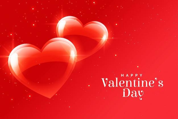 幸せなバレンタインデーのロマンチックな赤いハートグリーティングカード