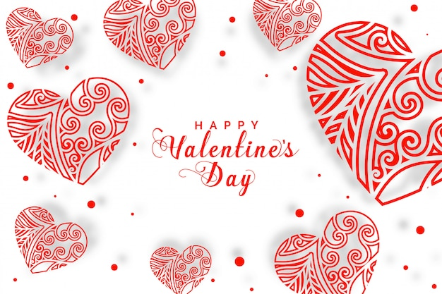 バレンタインの日グリーティングカードの装飾的な心の背景