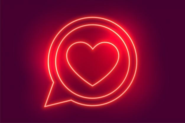 Неон любовь сердце чат символ фон