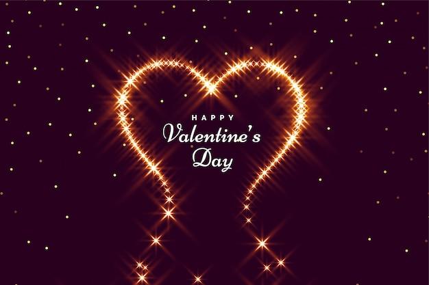 幸せなバレンタインの日グリーティングカードの心を輝き