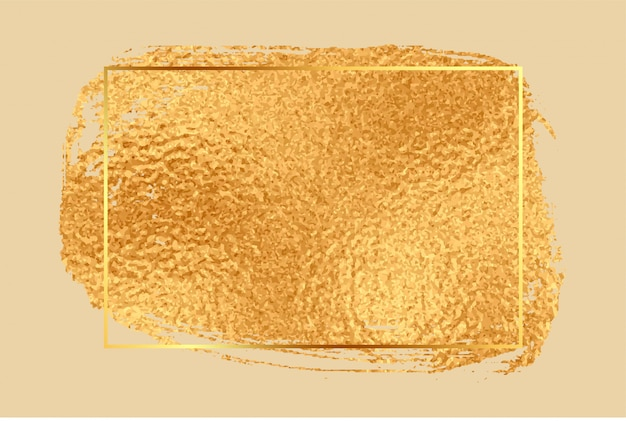 光沢のある黄金箔テクスチャ空のフレームの背景
