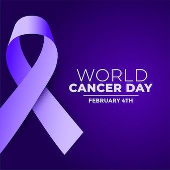 世界がんの日紫現実的なリボンの背景