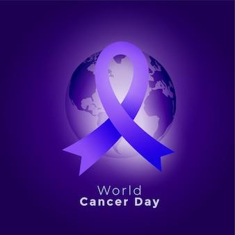 紫色のリボンと地球世界がんの日の背景