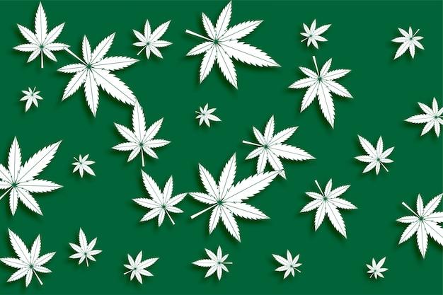 緑の大麻マリファナの葉のシームレスパターン