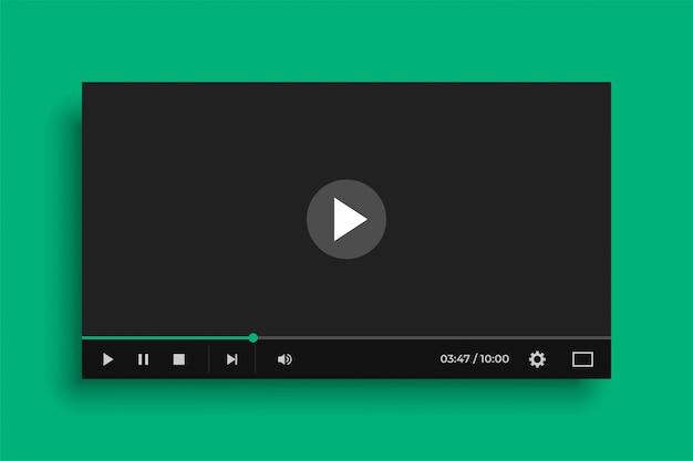Видео медиаплеер в плоском черном стиле