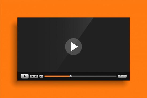黄色のテーマビデオメディアプレーヤーインターフェイステンプレート