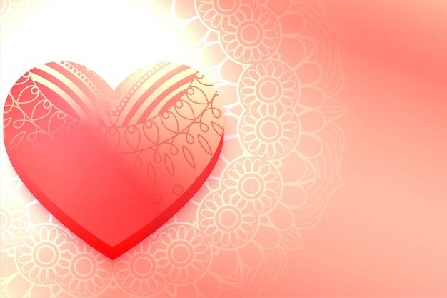 光沢のある装飾的な心の美しいバレンタインデーの背景