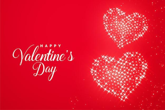バレンタインデーの赤いロマンチックな輝きハートグリーティングカード