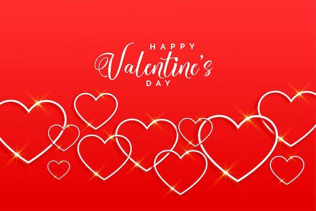 ラインスタイルのグリーティングカードで素敵な赤いバレンタインの心
