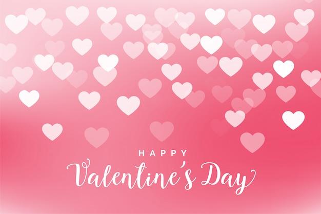 素敵なピンクのハートバレンタインの日グリーティングカード