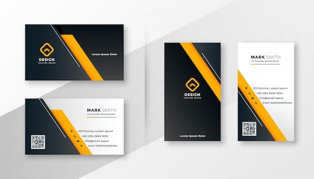 Геометрический желтый современный шаблон визитной карточки