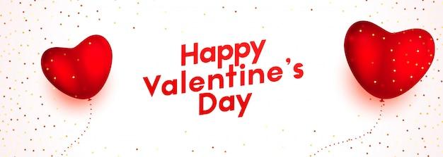 Воздушный шар сердца с днем святого валентина баннер