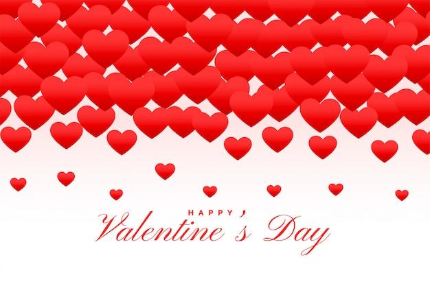 素敵な赤いハートハッピーバレンタインデーグリーティングカード