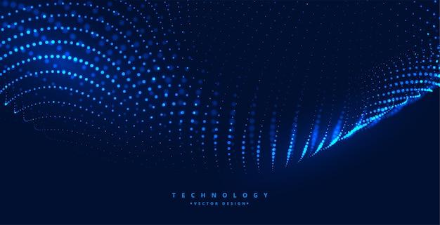 輝く粒子と青いデジタル技術の背景