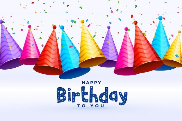 Празднование дня рождения шапки во многих цветах фона