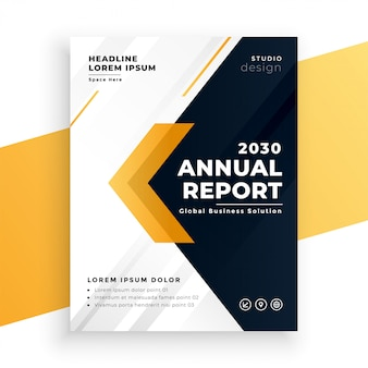エレガントな黄色のビジネス年次報告書テンプレート