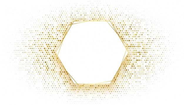 キラキラ背景を持つ黄金の六角形フレーム