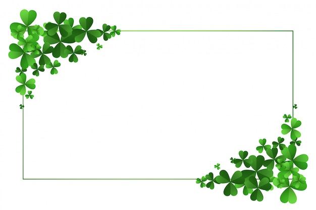 聖パトリックの日のクローバーの葉のフレームの背景