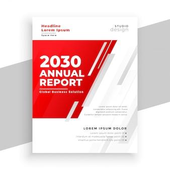 プロの赤の年次報告書パンフレットテンプレート