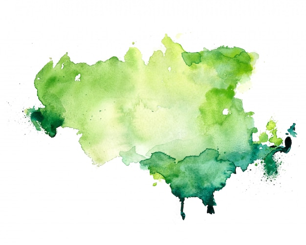 抽象的な緑水彩染色テクスチャ背景