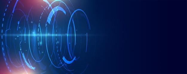ハイテクの未来的なライン技術バナー