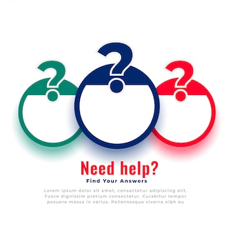 Помощь и поддержка вопросительный знак веб-шаблон